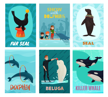 Dolphinarium show cards set with seal and beluga symbols flat isolated vector illustration Illustration