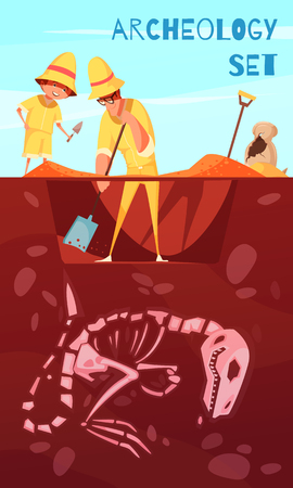 Archeology excavation background scientists with work tools during digs of dinosaur skeleton cartoon vector illustration