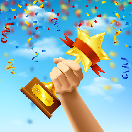 Hand holding award of winner on blue sky background with streamers and confetti realistic vector illustration