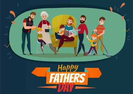 Fathers day poster with family and children symbols flat vector illustration