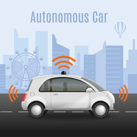 Autonomous car on road composition with realistic image of automobile with radiowave pictograms and urban scenery vector illustration