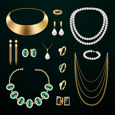 Jewelry accessories realistic set with rings and earrings on black background isolated vector illustration Ilustrace