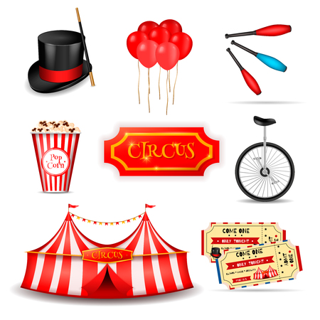 Circus set of realistic 3d icons with essential elements tickets and stripped tent images with shadows vector illustration Illustration