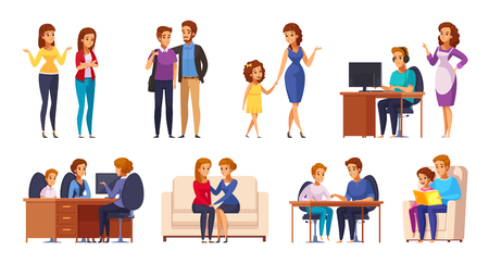 Children parents parenthood cartoon characters collection with kids and genitors human characters in different life situations vector illustration Çizim