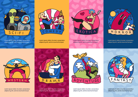 Cinema genres in colorful mini banners cards with drama adventure comedy western erotic movies isolated vector illustration