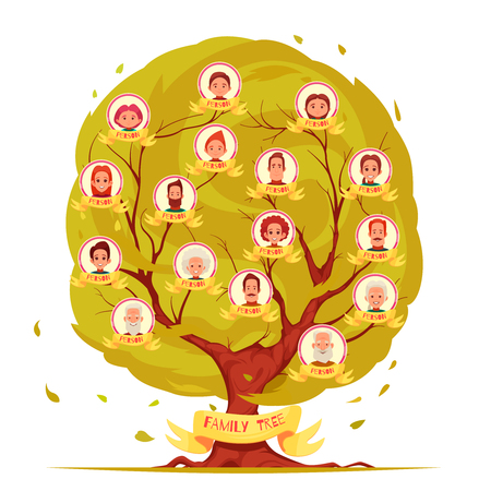 Genealogical tree set of family members from elderly persons to young generation on leafage background vector illustration Stock fotó - 100657717