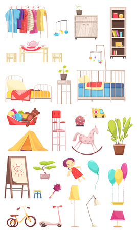 Children room interior elements set, rack with clothing, furniture, toys, plants, bike and scooter isolated vector illustration   Illusztráció