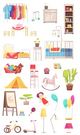 Conjunto de elementos interiores de la habitación de los niños, estante con ropa, muebles, juguetes, plantas, bicicleta y scooter ilustración vectorial aislada Foto de archivo - 100657719