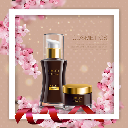 Sakura colored composition white frame and realistic black jars with cosmetic cream vector illustration