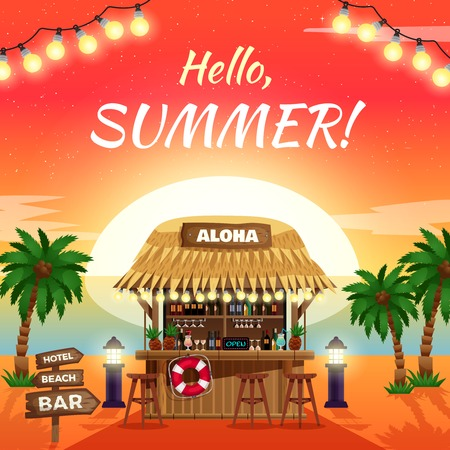 Hello summer bright sunny poster with ocean coast tropical bungalow bar on sunset background vector illustration