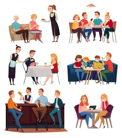 Visitantes de restaurantes y pubs con símbolos de alimentos y bebidas ilustración vectorial aislada plana