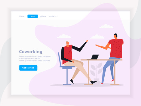 Coworking landing page with team work composition, graphic interface elements on light background flat vector illustration 向量圖像