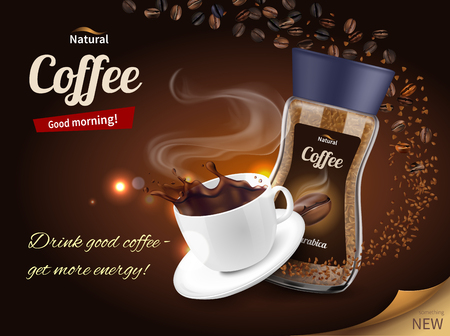 Instant koffie advertentie realistische samenstelling poster met verpakking en vers gezette kop op bruine achtergrond vectorillustratie Vector Illustratie