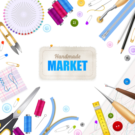Handmade market realistic white background with frame compose of sewing tools and accessories vector illustration
