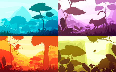 Jungle set of cartoon landscapes with rain forest with lush flora, silhouettes of animals, isolated vector illustration