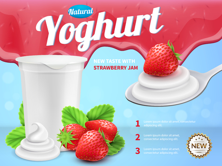 Yoghurt composition with new strawberry taste symbols realistic vector illustration