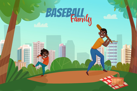 Fatherhood scene with dad and son during baseball game on city buildings background vector illustration