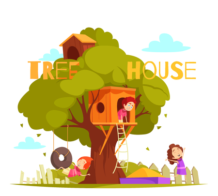 Tree house between green foliage with ladder, hanging tire, sand box and children during play vector illustration Banque d'images - 100657750