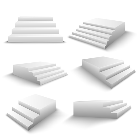 White stairs realistic 3d elements set with various viewpoints and shadows isolated vector illustration