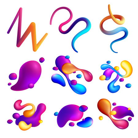 Set of different abstract shapes of holographic fluid spills on white background isolated vector illustration  Illustration