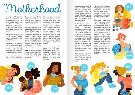 Motherhood hand drawn infographics, book pages, including loving women with little babies in various activities, vector illustration Illustration
