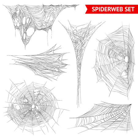 Various types of spider web and cobweb structures realistic images collection on white background isolated vector illustration  Illustration