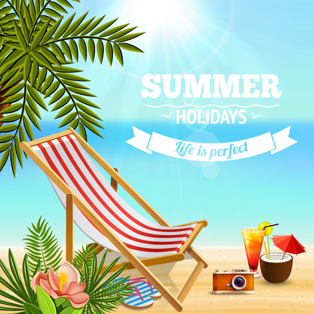 Tropical paradise background with editable text and sandy beach landscape with deck chair cocktails and plants vector illustration Illustration
