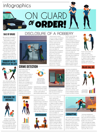 Criminals infographic set with hostages and drugs symbols flat vector illustration Ilustracja