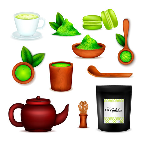 Japanese matcha green powder realistic icons set with tea ceremony cup latte whisk desserts isolated vector illustration