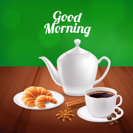 Realistic background with served breakfast on wooden table with cup of coffee and croissants vector illustration Illustration