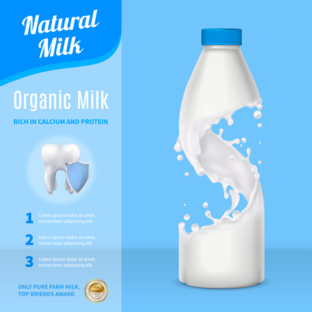Natural milk advertising realistic composition with plastic bottle and carton pack on blue background vector illustration Çizim