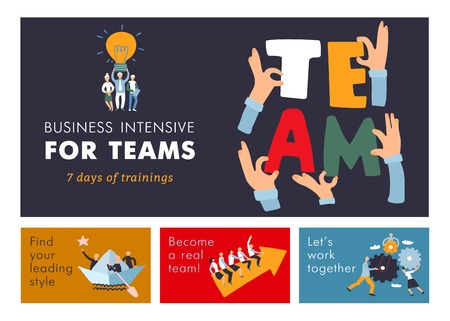 Teamwork cooperation management training  for business efficiency and success advertisement colorful horizontal banners set isolated vector illustration