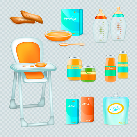 Baby food realistic 3d transparent collection of isolated essential elements for feeding infant with high chair vector illustration
