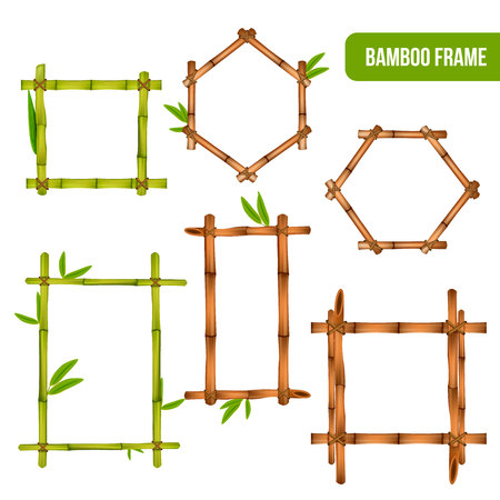 Green and dry bamboo decorative interior elements square rectangle and hexagon frames realistic set isolated vector illustration Illustration