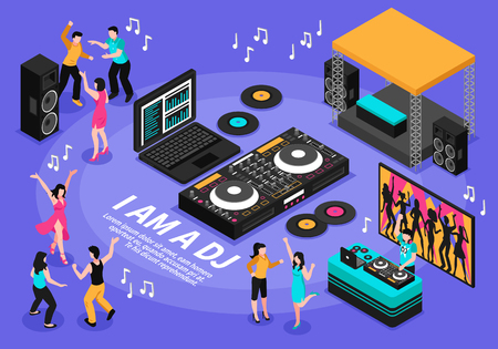Dj and music composition with people dancing and singing symbols isometric vector illustration.