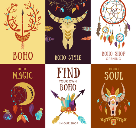 Boho style souvenirs decorative hipster interior elements sale promotion 8 cards mini banners collection isolated vector illustration