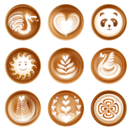 Latte coffee art realistic set with heart sun and dragon isolated vector illustration