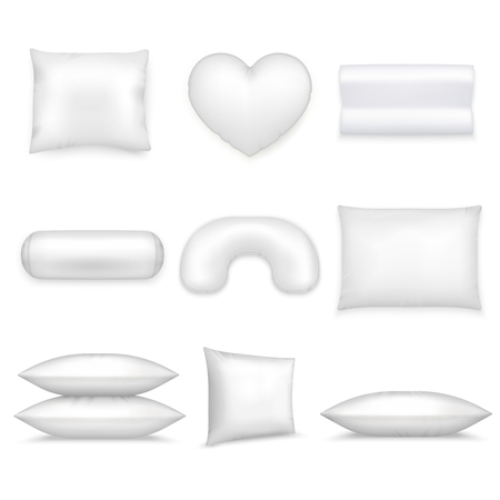 White isolated pillows realistic icon set different shapes and sizes on white background vector illustration.
