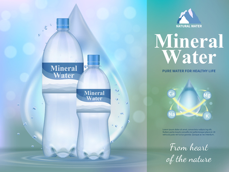 Mineral water composition with healthy life symbols realistic vector illustration