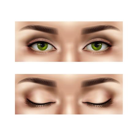 Set di parte realistica del volto umano femminile con gli occhi aperti e chiusi, illustrazione vettoriale isolato Vettoriali
