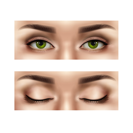Set of realistic part of female human face with open and closed eyes, isolated vector illustration Ilustração