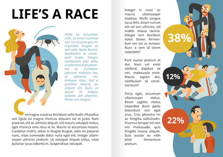 Life race infographics with ambitions, conflicts and interests, competitive behavior, leadership, dominant persons vector illustration