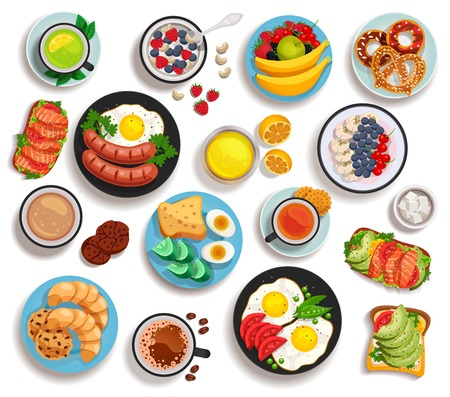 Breakfast isolated set of top view dishes laid out on tableware or pan isolated vector illustration