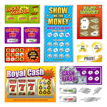 Scratch lottery games realistic cards collection with lucky winning tickets and  looser marks revealed isolated vector illustration