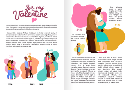Love hugs infographics book pages with embraces of persons, information about interracial couples vector illustration