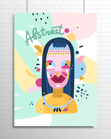 Human inner world personality symbolic poster depicting young woman analytical and emotional thoughts feelings abstract vector illustration