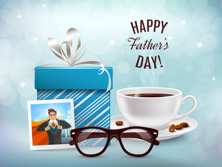Dad day composition on blurry background with realistic gift box coffee cup and glasses with text vector illustration