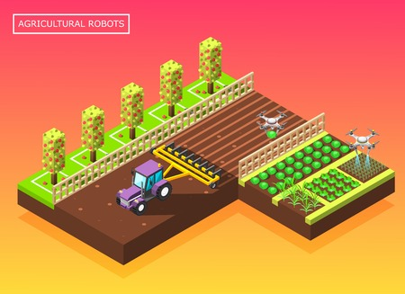 Agricultural robots isometric composition with tractor plowing field and helicopter watering vegetable beds vector illustration