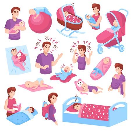 Dormir bebés, niños pequeños, niños, niños, en, cuna, cochecito, padres, brazos, rosa, azul, iconos, colección, aislado, vector, ilustración