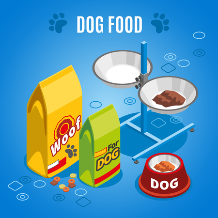 Dog food isometric composition on blue background with dry and wet feed, paw imprints.